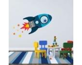 Fliegende Rakete Wandtattoo von Stickerscape - Wandaufkleber (Blau, Großes Größe)