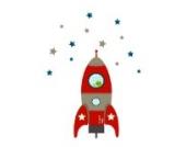 Individuelle Rakete Wandtattoo von Stickerscape - Wandaufkleber (Rot, Reguläres Größe)