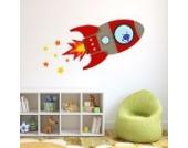 Fliegende Rakete Wandtattoo von Stickerscape - Wandaufkleber (Rot, Großes Größe)