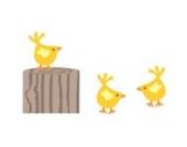 Baumstumpf und Hühner Wandtattoo von Stickerscape - Wandaufkleber (Reguläres Größe)