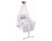 Easy Baby Wiege Komplettset natur, Honey bear lila 181-40