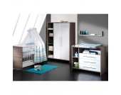 Komplett Kinderzimmer ECO WILDEICHE, 3-tlg. (Kinderbett, Wickelkommode und 2-türiger Kleiderschrank), Wildeiche/weiß Gr. 70 x 140