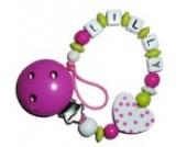Baby Schnullerkette mit Name - Schnullerhalter mit Wunschnamen - Herz Punkte - lemon/weiss/pink - für Mdächen/only Girls