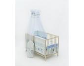 13-tlg. Baby-Bettwäsche-Set Bettzeug Bettbezug Bettgarnitur für Babybett 120x60 (Muster: Hund mit Knochen_puderblau)