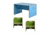Kindersitzgruppe - Kindermöbel - 2 Kinderstühle/Hocker + 1 Kindertisch/Bank. Tisch hellblau, Farbe Stühle frei wählbar. (Stühle/Hocker grün, Tisch/Bank hellblau)