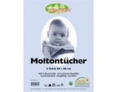 Moltontuch, 2er Pack weiss Gr. 80 x 80