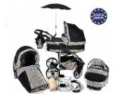 Twing - 3 in 1 Reisesystem einschließlich Kinderwagen mit schwenkbaren Rädern, Kinderautositz, Buggy und Zubehör - Schwarz und Leopard