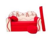 WELOX d26 KindersofaBettfunktion3in1-Kindersessel,Ausziehbett, rot/beigeTeddy, Eierschalenfarbe