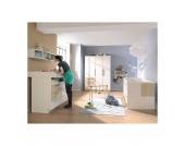 Komplett Kinderzimmer MILLA, 4-tlg. (Kinderbett, Kommode, Wickelaufsatz und 2-türiger Kleiderschrank), Weiß/Macchiato Hochglanz Gr. 70 x 140