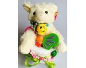 Elfenstall Windeltorte/Pamperstorte mit Schnullerkette, buntem Ball und süßem Greifling aus Holz als tolles Geschenk zur Geburt oder Taufe auf Wunsch mit Name des Babys