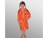 Bademantel mit Namen Schnecke orange Größe 86/92