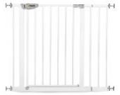Hauck Squeeze Treppen-/Türschutzgitter für Kinder, für Hunde und Katzen, Befestigung ohne Bohren, zum Klemmen, mit Tür, 75-95 cm, 14 cm Verlängerung, grau (silber)