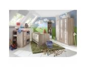 Komplett Kinderzimmer BAMBI, 3-tlg. (Kinderbett, Wickelkommode, Kleiderschrank 3-trg.), Eiche sägerau/weiß Gr. 70 x 140