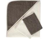 Set Kapuzenbadetuch mit 2 Waschlappen, beige-braun Gr. 80 x 80