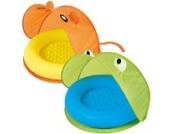 POOL mit Pop-Up STRANDMUSCHEL (UV UPF 50+) Strandzelt Kinder Planschbecken Sonnenschutz (FROSCH Blau / Grün)