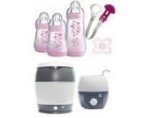 MAM Set - Startset - Babykostwärmer Sterilisier Flaschenset klein - ROSA + gratis Schmusetuch Löwe Leo