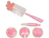 NK store bebe uns Sponge Pinsel Flaschennippelbürstenkopf, 360 Grad drehende Waschflaschenbürste, rosa