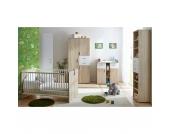 Babyzimmer Nico, 4-tlg. (Kleiderschrank, Standregal, Wickelkommode, Kinderbett), Sonoma-weiß Gr. 70 x 140