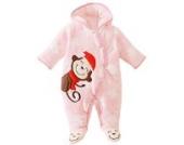 Happy Cherry Baby Overall Baumwolle Baby Mädchen Schlafanzug Samt Spielanzug Winter Fleeceanzug Cartoon Affe Drucken Schneeanzug Jumpsuit Größe 12M - Rosa