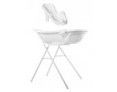 Baby Badewanne XXL 100 cm + Badewannenständer + Badewannensitz weiß + Waschhandschuh
