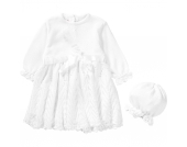 Baby Set aus Taufkleid + Mütze JOHANNA Gr. 80 Mädchen Baby