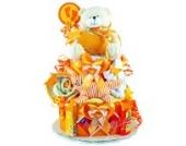 Windeltorte / Pamperstorte > Babygeschenk für Mädchen und Jungen in schönem Orangeton // Geschenk zur Geburt, Taufe, Babyparty // originelles und praktisches Geschenk für Babys