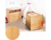 Kinderbett & breite Wickelkommode Sparset NATURA, FSC®-zertifizierte Buche vollmassiv, geölt Gr. 70 x 140