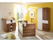 Babyzimmer Milu, 3-tlg. (Kleiderschrank, Wickelkommode, Bett), Walnuss-Weiß Gr. 70 x 140
