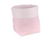 Sugarapple Utensilo Stoff Aufbewahrungsbox aus Baumwolle 19 x 13,5 x 13,5 cm, Stoffbox fürs Bad, als Wickeltisch Organizer oder Windelspender Korb, Streifen rosa