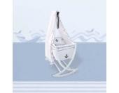 Wiege mit Matratze und Stange, Matrosen Cradle in weiß