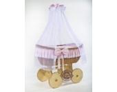 Puppenwagen stubenwagen aus korb mit stoffdach ca cm