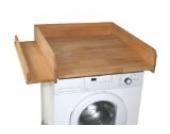 Wickeltischaufsatz 60x70cm mit seitlicher Ablage, Buche geölt, Wickelaufsatz für Waschmaschine oder Trockner
