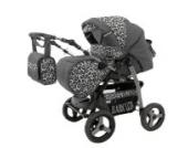 Lux4Kids Magnum Kombikinderwagen (Regenschutz, Moskitonetz, Getränkehalter, Wickelunterlage) 34 Graphit & Snow Leopard