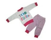 Baby Schlafanzug 2 teilig Weiß/Pink Größe 92 Too Cutie