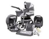 Ferriley & Fitz Daytona Kinderwagen Komplettset (Autositz & Adapter, Regenschutz, Moskitonetz, Getränkehalter, Schwenkräder) 70 Graphit & Blumen