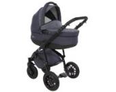 True Love Citylike Kinderwagen Komplettset (Autositz & Adapter, Regenschutz, Moskitonetz, Schwenkräder, 3 Gestellfarben) NTR01CC Black / Blue Jeans