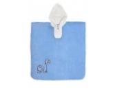 Schlummersack kuschelig weicher Badeponcho mit Kapuze Dinosaurier in blau für Jungen 4-8 Jahre