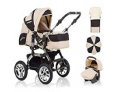 18 teiliges Qualitäts-Kinderwagenset 5 in 1 CITY DRIVER: Kinderwagen + Buggy + Autokindersitz + Schirm + Winter-Fussack - Megaset - all inclusive Paket in Farbe SAND-SCHWARZ