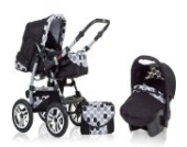 "16 teiliges Qualitäts-Kinderwagenset 4 in 1 ""FLASH"": Kinderwagen + Buggy + Autokindersitz + Iso Base - all inklusive Paket in Farbe SCHWARZ-PUNKTE"