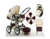 "17 teiliges Qualitäts-Kinderwagenset 5 in 1 ""FLASH"": Kinderwagen + Buggy + Autokindersitz + Schirm + Winterfussack – all inklusive Paket in Farbe CREME-BORDEAUX"