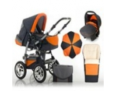 "17 teiliges Qualitäts-Kinderwagenset 5 in 1 ""FLASH"": Kinderwagen + Buggy + Autokindersitz + Schirm + Winterfussack – all inklusive Paket in Farbe ANTHRAZITE-ORANGE"