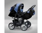 Akjax Piko 3in1 - Kombikinderwagen - Kinderwagen - Buggy - Babyschale - mit Sonnenschirm & chrom Rad Farbe Nr.24 schwarz / himmelblau