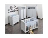 Babyzimmer / Kinderzimmer komplett Felix in Weiß, Komplettset mit grossem Kleiderschrank, Babybett mit Lattenrost, Wickelkommode mit Wickelaufsatz