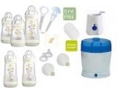 MAM Set 6 - Startset - Flaschen Sterilisator Babykoster Sauger 20 teilig - Ivory + gratis Schmusetuch Löwe Leo