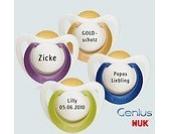Nuk Genius Schnuller mit Namen 3 Stück - Latex - lila - Gr 1 - Jeder Schnuller eine andere Gravur!
