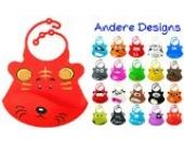 BOMIO Silikon-Lätzchen | mit praktischer Auffangschale | für Babys und Kleinkinder | wasserdicht, leicht abwaschbar, spülmaschinenfest | kindgerechte Tiermotive | geprüft nach EN 71 | Löwe