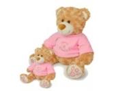 Kuscheltier Bär 30cm waschbar für Baby ab 0 Monaten // Plüschtier Stofftier Geschenk Geburt Taufe Babyparty Mädchen Teddy Plüschbär hell rosa 20cm